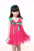 Wholesale Children Girls Wedding Dress Rose Red Formal Dancing Party Chiffon Green Ribbon Flower Dresses