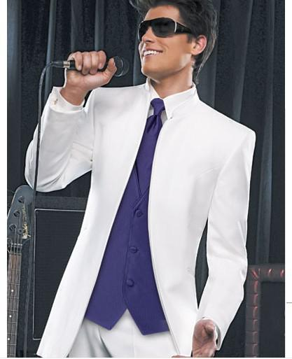 White Groom Tuxedos Men'S Prom Suit Wedding SuitsJacket Pants Ties ...