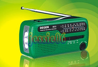 Wholesale DE13 CRANK DYNAMO SOLAR EMERGENCY AM FM SW DEGEN RADIO FM MM SW SW2 world Radio green