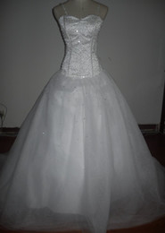 Wholesale US In stock White strapless Spaghetti tulles beads A line wedding dresses lace up back