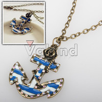 Wholesale Fashion Sailor Style Anchor Crystal Flower Necklace