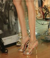 Wholesale Golden Sparkling Dazzing High Heels Toe Prom Evening Party Dress Bridal Wedding SHOES