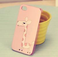 10pcs/lote Lindo Amoroso Corazón de Elefante Jirafa Caso Para el iPhone 4 4G 4S