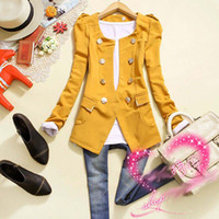Wholesale women fashion suit Double breasted slim knitted cotton short jacket Red black yellow NO B Fre