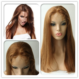 Wholesale Eton Brazilian Virgin Hair Front Lace Wig Inch Medium Auburn Silky Straight Hand Tied