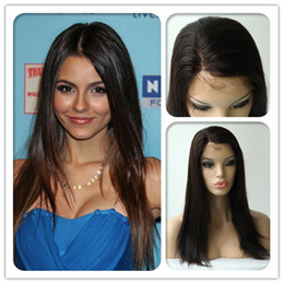 Wholesale Eton Quality Inch Brazilian Virgin Human Hair Front Lace Wig Darkest Brown Straight Hand Tied