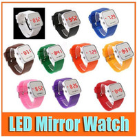 Wholesale LED Mirror Watch Face Silicone Wrist Sport Digital Red Light For Women amp Men Colorful colors