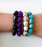 Wholesale Multicolor Turquoise Skull Strand Bracelets