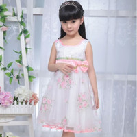 Wholesale 2012 Children Dresses Girls Advanced Floral Yarn Angel Rose Great Skirt Loving Bow Only Pink