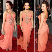 Wholesale Demi Lovato Sweetheart Prom Dress Chiffon Beading summer beach Celebrity Dresses EWl209