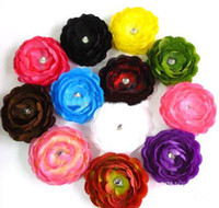 Christmas   60pcs camellia peony flower Baby Hair Bows Children's Clip Girl Satin silk Flowers hair clips Sold b