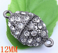 Wholesale 20pc Black Gun Metal Crystal Oval Magnetic Clasp mm BD217
