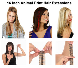 Wholesale 16 quot inch Animal Print Synthetic Hair Feathers Extensions Leopard Cheetah Zebra Print FET703