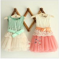 Wholesale Girls Embroidered Lace layer gauze bow vest dress dresses girl new sets Y JUN34