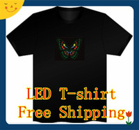 Wholesale EL T Shirt Sound Activated Flashing LED T Shirt Light Up Down Music Party Equalizer