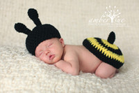 Unisex bees photography - Newborn Baby Crochet Hat amp Bumble Bee Tushy Topper Photography Prop