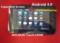 Wholesale UPS FREE dropshiping inch Capacitive Screen android MB GB HDMI allwinner a10 tablet pc
