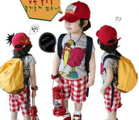 Wholesale Boy s suits Summer short suits cartoon Turkey short sleeve T shirt shorts suits asdy