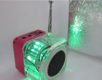 Wholesale TT colour LCD screen mini music speaker cube portable MP3 speaker with SD TF card FM led mini speaker