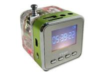 Wholesale USB music speaker led mini speaker LCD screen with SD TF card FM LED light TT DHL shipping