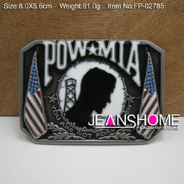 Wholesale Fashion POW belt buckle military belt buckle with pewter plating FP