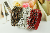 Wholesale Mix Order Relaxation Leather Bangle Bracelets Balance Bracelet With Mental Bead