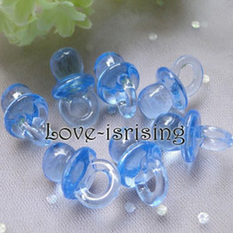Wholesale Mini Acrylic Clear Blue Baby Pacifier Baby Shower Favors Cute Charms Party Dec