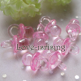 Wholesale Hot Sale Mini Acrylic Clear Pink Baby Pacifier Baby Shower Favors Cute Charms