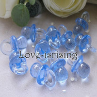 Wholesale Hot Sale Mini Acrylic Clear Blue Baby Pacifier Baby Shower Favors Cute Charms