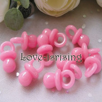 Wholesale Hot Sale Mini Acrylic Solid Pink Baby Pacifier Baby Shower Favors Cute Charms