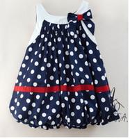 Wholesale Girl s one piece dress AMISSA blue white dot vest dress Girl s dresses skirt dress