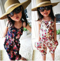 Wholesale Girls Small floral suspender pants girl pant Children s Casual Pants