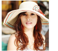 Wholesale Large brimmed straw hat UV protection beach hat color flowers millinery