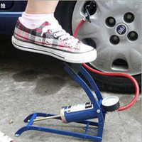Wholesale Folding Car air pump foot inflatable tube tire pump withTire gauge easy to carry