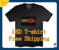 Wholesale Fashion LED EL T Shirt Shirts Sound Activated EL Equalizer T Shirt