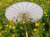 Wholesale hand made inches plain white paper parasols Bridal wedding parasols Straight bamboo umbrellas