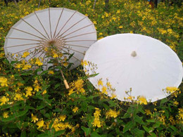 Wholesale hand made inches solid white paper parasols Bridal wedding umbrellas