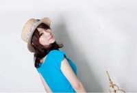 Wholesale Bow straw hat flat cap beach hat straw hat sun hat fisherman hat color mixed
