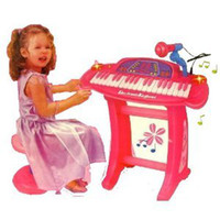 Wholesale Kids Authority keys Pink Piano Keyboard set with Microphone and stand Chair