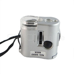 Wholesale New X Mini UV LED Microscope Pocket Loupe Magnifier Quality Lens Flashlight Function Y1039D