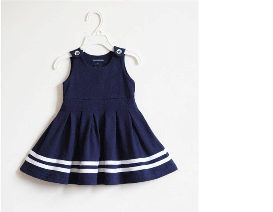 2017 Girls Navy Blue Dresses Childrens School Dresses