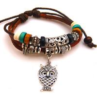 Unisex adorn bracelets beads - Owl pendant leather bracelet hand knitted bracelet multi layered adorned with rosary wood beads