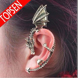 Wholesale Alchemy Gothic Punk Dragons Lure s Fake Clip On Wrap Ear Earrings Cuff