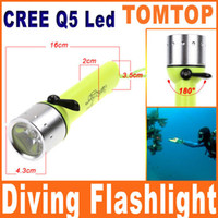 Wholesale CREE Q5 LED Diving Flashlight Submarine Light Lamp Underwater Torch Waterproof flash light H8433