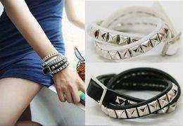 Wholesale 174 hot sell lovely women cool hip hop jewelry beautiful star punk vintage fashion multilayer rivet leather wrap bracelets