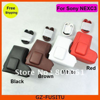 Wholesale Leather Camera Case Bag for SONY NEX C3 NCXC3 mm Lens
