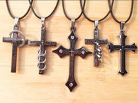 Wholesale Leather Bible Cross Pendant Titanium Stainless Steel Necklaces Ring Circle Stylish Unisex Men
