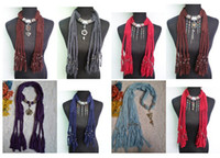 Plain Dyed Plain Woven Jewelry Scarf Necklace Metal Pendant Scarves Scarf Mixed Colors Mix Styles Delivery Fashion