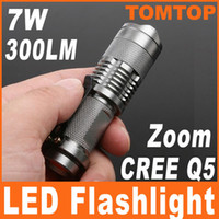 Wholesale 7W LM Mini CREE Q5 LED Flashlight Torch Adjustable Focus Zoom Light Convex Lens Lamp H4846S