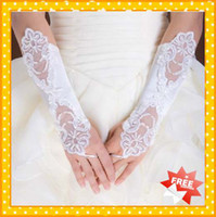 Wholesale Stock Fashion Stylish White Ivory Fingerless Pearls Sequin Applique Sequins pearls Long Wedding Bridals Gloves Glove Beautiful
